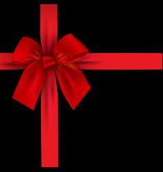 Realistic red bow with ribbon isolated on black vector
