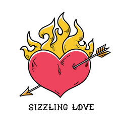 Red burning heart pierced by arrow sizzling love vector