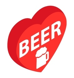 Red heart with text Beer and beer mug icon vector