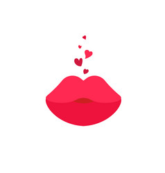 red kiss lips on white background vector image