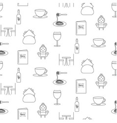 Restaurant line icon seamless pattern vector