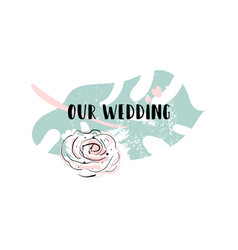 romantic wedding palm leaf border vector image