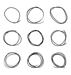 scribble circles set on a white background vector image