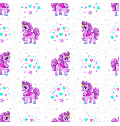 Seamless pattern with cute cartoon horse princess vector