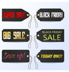 Set Black Friday tagline sales tags vector