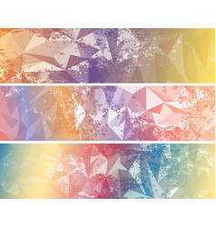 set of abstract colored triangulated banners vector image