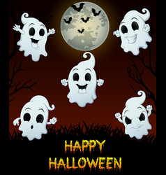 set of halloween emotional ghosts on grass backgro vector image