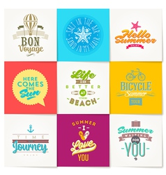 set summer vacation and travel type design vector image