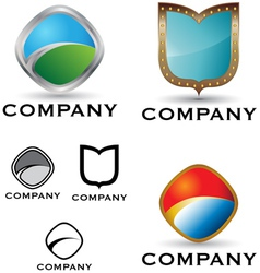 shield logo and icon set vector image