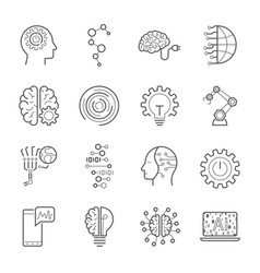 simple set artificial intelligence related vector image