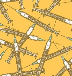 Sketch syringe in vintage style vector image