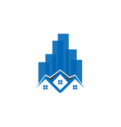 skyscraper building and house logo template vector image
