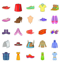 Sport shoes icons set cartoon style vector