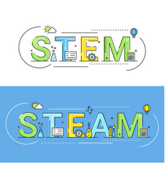 stem and steam education approaches concept vector image