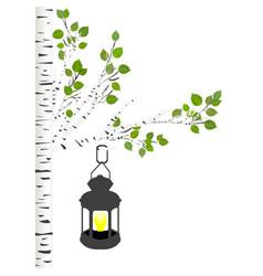 Street light hanging on an oak branch vector