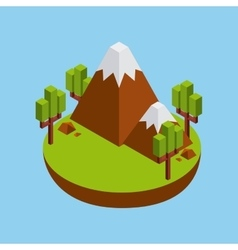Tree and mountain icon Isometric design vector