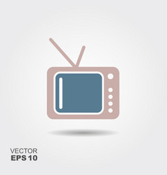 tv icon in flat style isolated on grey background vector image