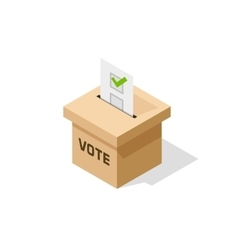 Voting ballot box isometric icon with paper vector