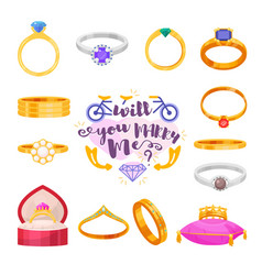 wedding rings set engagement symbol gold vector image