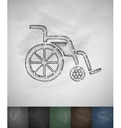 Wheelchair icon Hand drawn vector