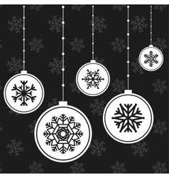White Christmas balls with snowflakes vector