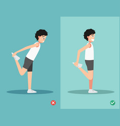 Wrong and right stretching front of thigh posture vector