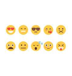 Yellow cartoon face set emoji people different vector