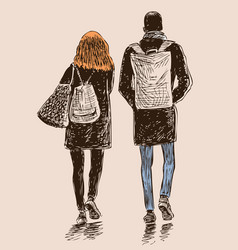 Young townspeople go on a stroll vector