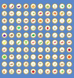 100 farm icons set cartoon vector image vector image