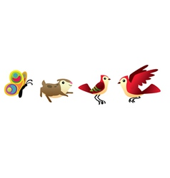 bird hamster and butterfly isolated set vector image vector image