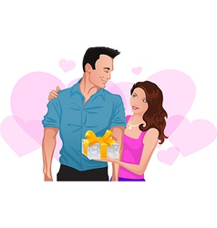 Couple in love Girl gives a gift to man vector image