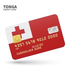 Credit card with Tonga flag background for bank vector image vector image
