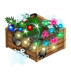 Decoration cristmas box with garland vector image vector image