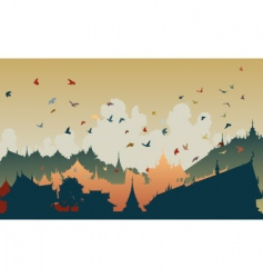 Eastern bird city vector image vector image