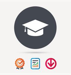 education icon graduation cap sign vector image
