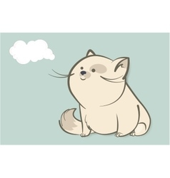 fat white cat and abstract cloud vector image vector image