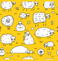 flock of sheeps seamless pattern for your design vector image vector image