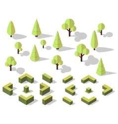 isometric trees elements vector image