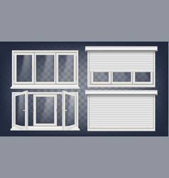 plastic pvc window roller blind opened vector image vector image