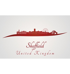 Sheffield skyline in red vector image vector image