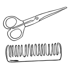 simple black and white scissors and comb vector image