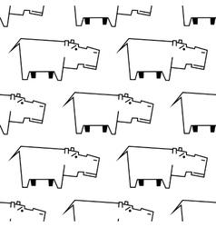 African hippopotamus sketch seamless pattern vector image vector image