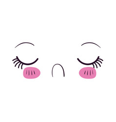 Colorful facial expression disgust kawaii vector