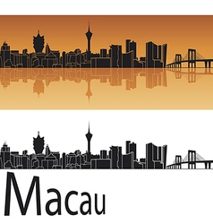 Macau skyline in orange background vector image