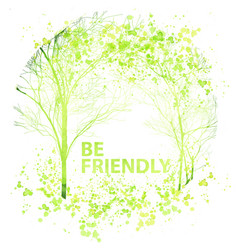 summer and spring watercolor trees vector image vector image