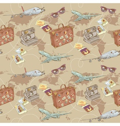 Travel seamless repeating pattern vector image vector image