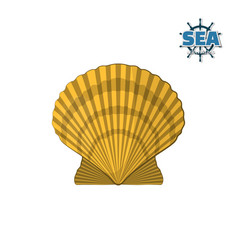 yellow shell on a white background vector image