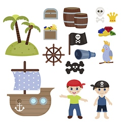 cute pirate objects vector image vector image