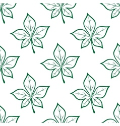 Green stylized chestnut leaves seamless background vector image vector image
