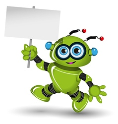 Robot with a white sign vector image vector image